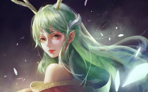 Fantasy Elf Woman Green Hair HD Wallpaper | Background Image