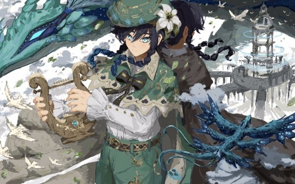 Video Game Genshin Impact Dvalin Venti HD Wallpaper | Background Image