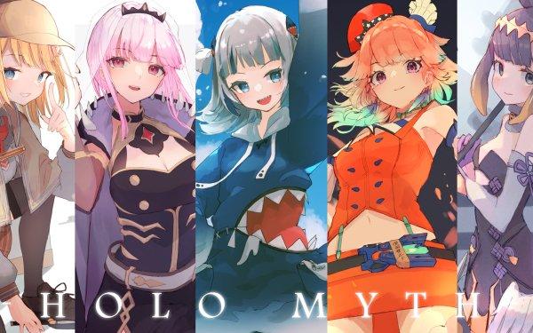 Anime Virtual Youtuber Gawr Gura Mori Calliope Ninomae Ina'nis Takanashi Kiara Watson Amelia Hololive HD Wallpaper | Background Image