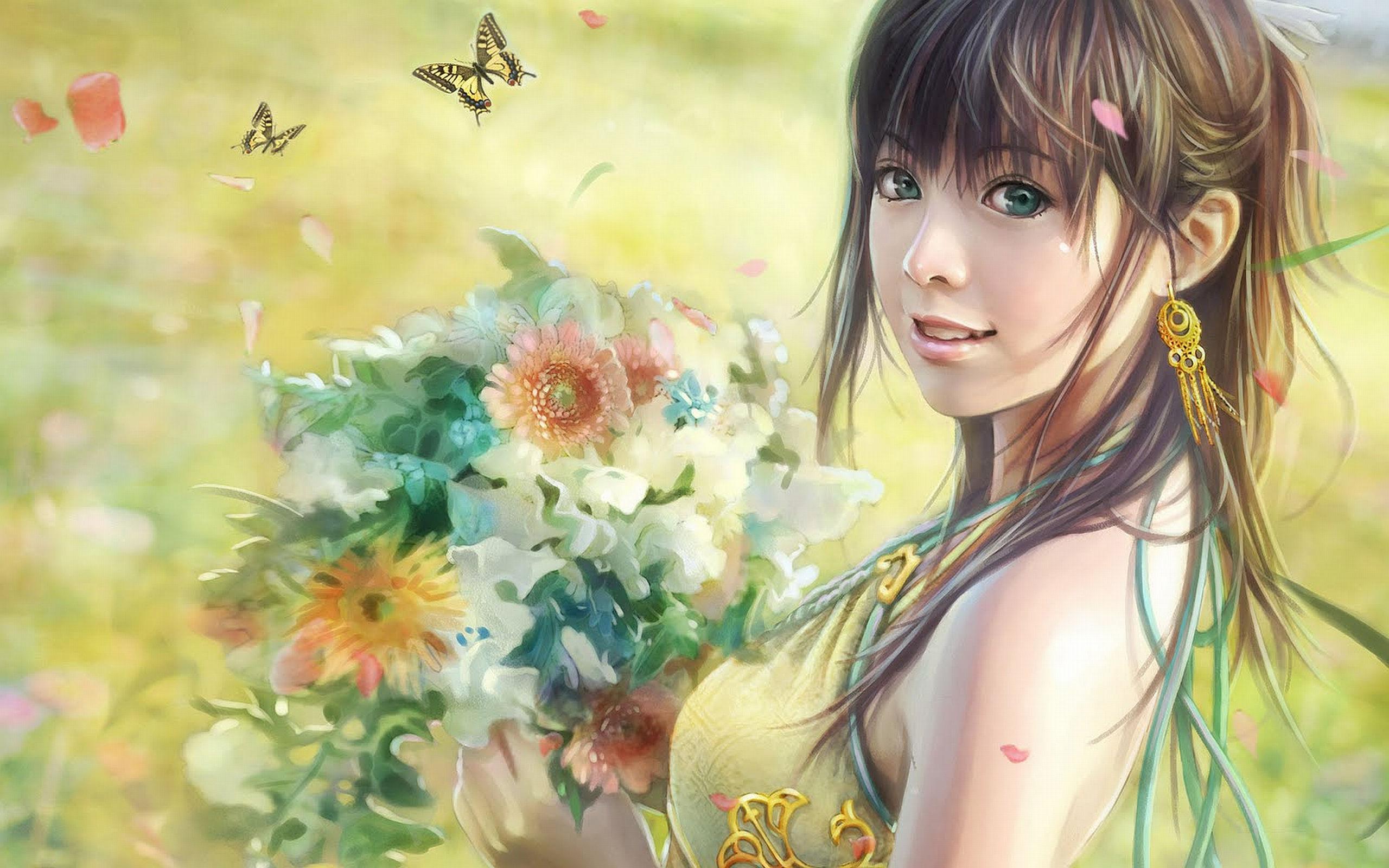 Género Fantástico - Mujeres  - Género Fantástico - Hot - Girl - Luz - Gorgeous - Field - Verde - Flores - Bouquet - Floral - Woman Fondo de Pantalla
