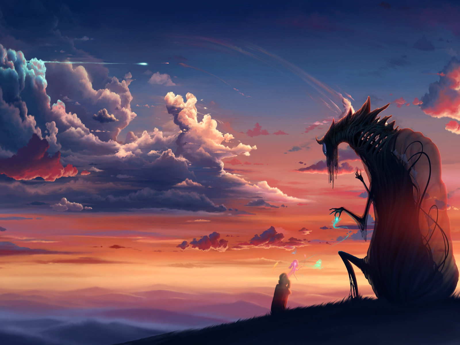 Fantasy - Dragon  - Sky - Clouds - Sunset Wallpaper