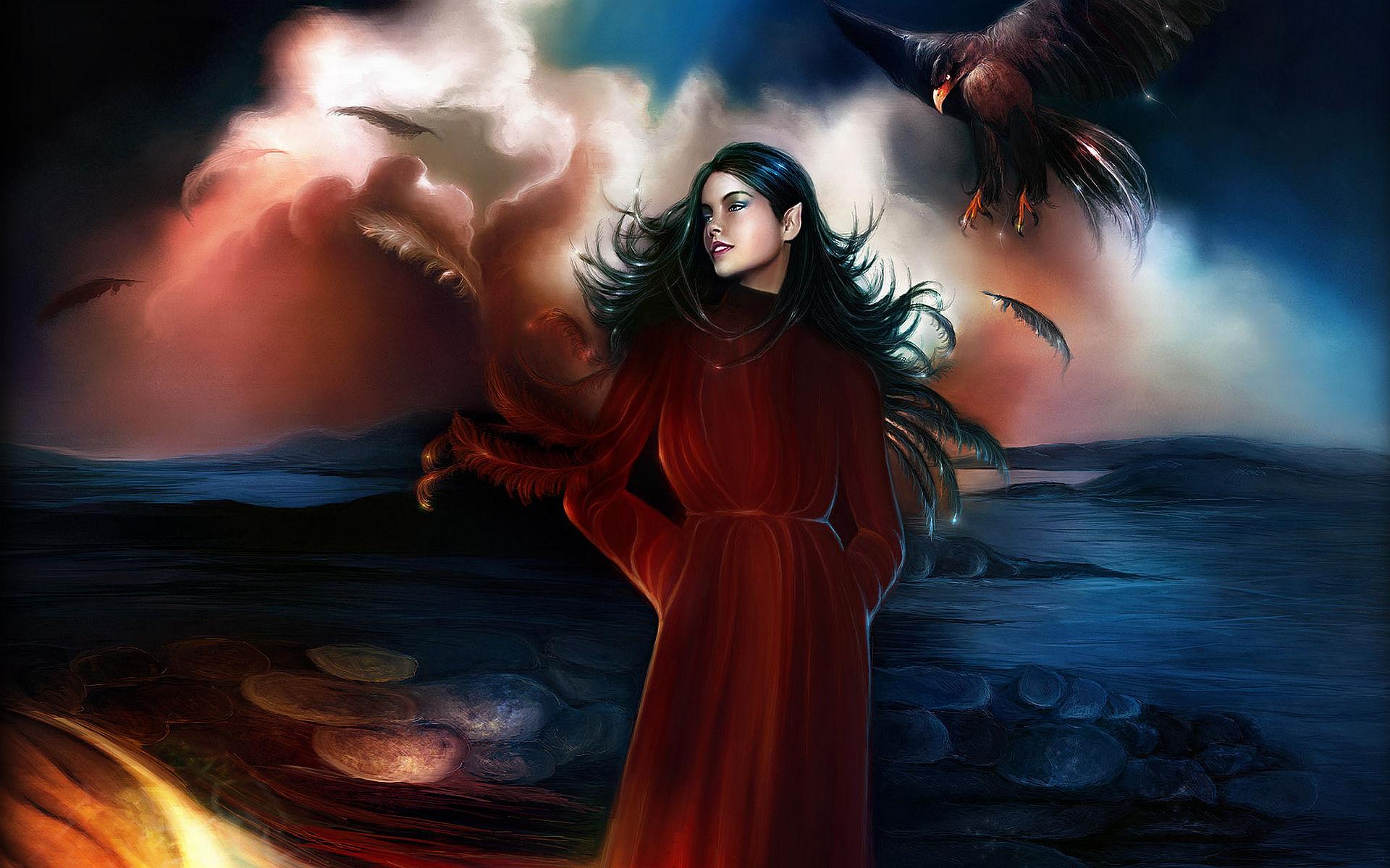 Fantasía - Elfo  Fantasía Pluma Woman Chica Pointed Ears Raven Black Hair Fondo de Pantalla