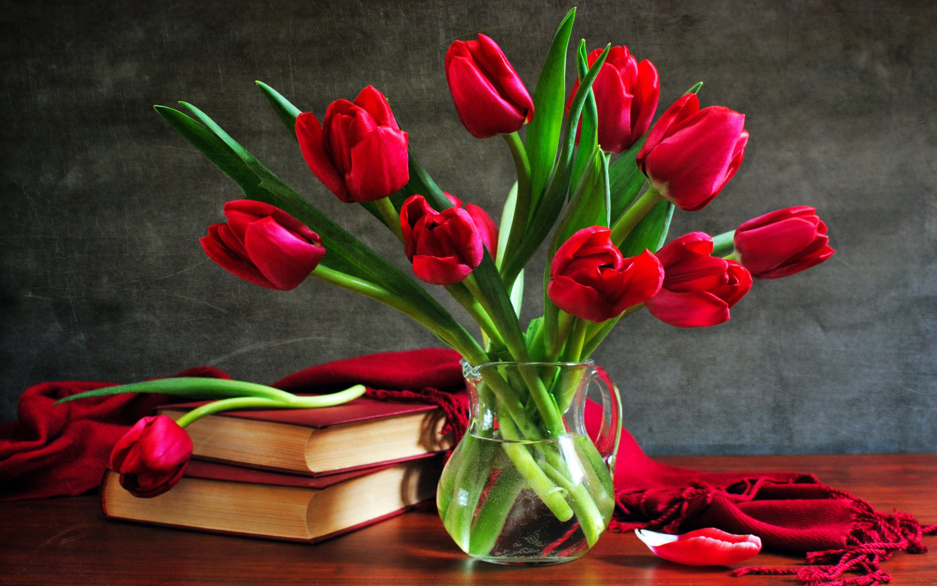 Photography - Still Life Glass Red Rose Tulip Red Flower Pitcher Scarf Book Flower Wallpaper