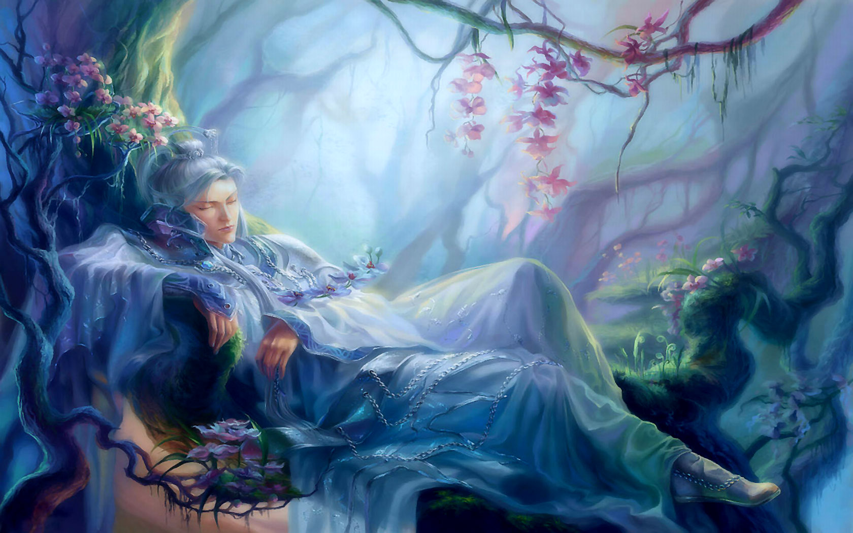 Fantasy - Donne  Dreaming In The Woods Sfondo