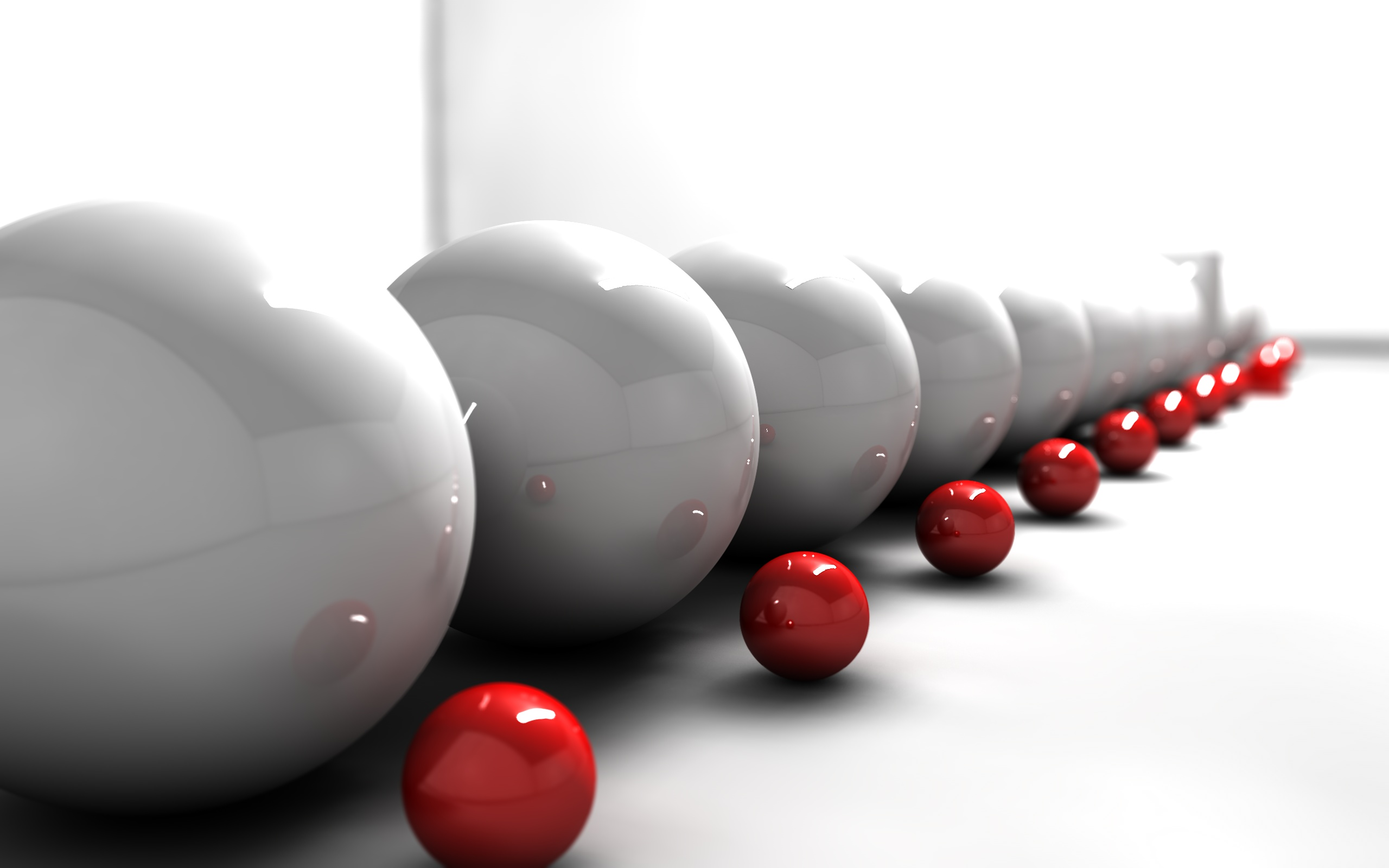 CGI - Balls  - Light - White - Red - Ball Wallpaper