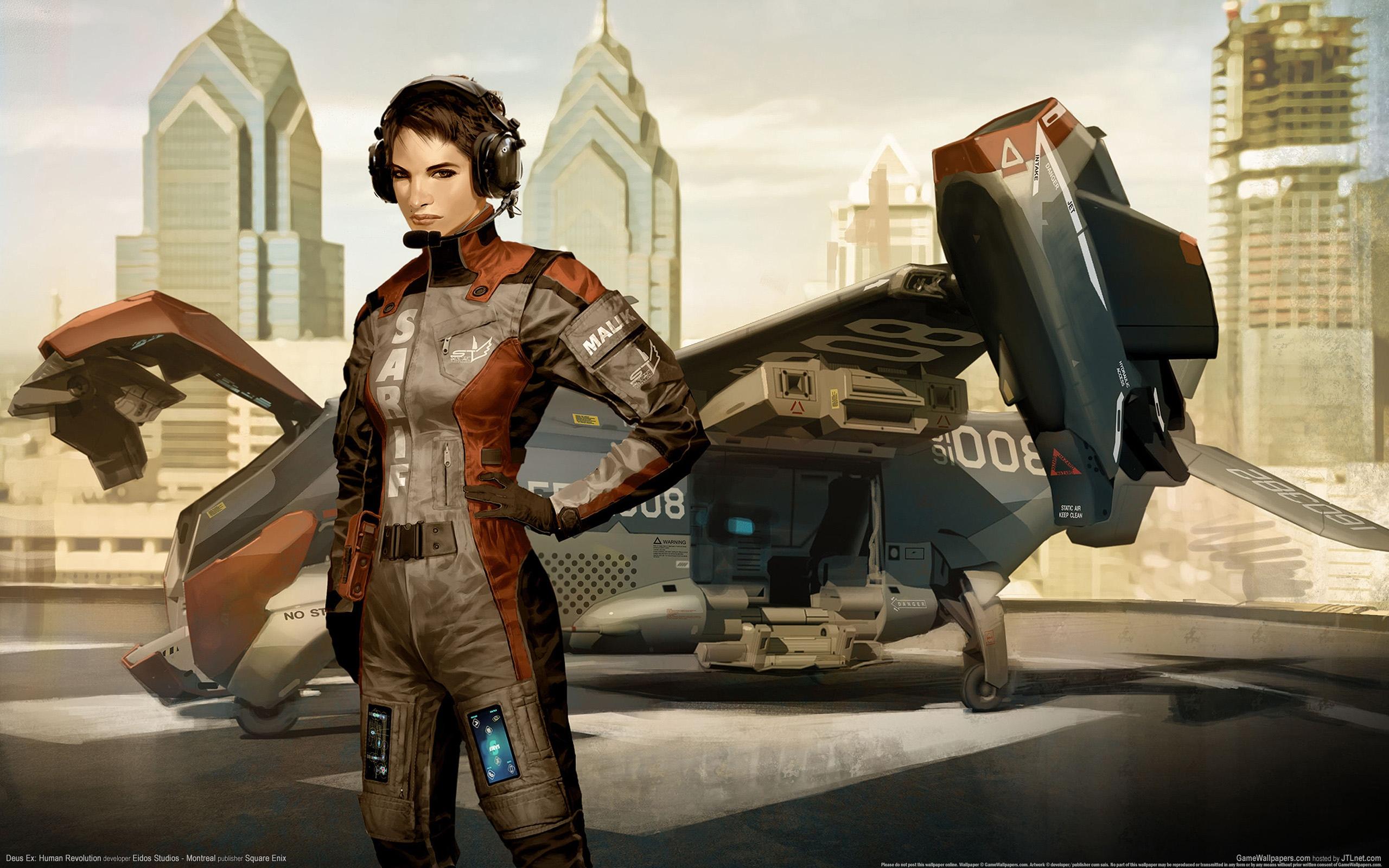 Скачать изображение игра, арт, графика, девушка, самолет, пилот