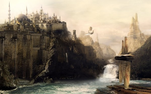 Fantasía Ciudad Cascada Barco Fondo de pantalla HD | Fondo de Escritorio