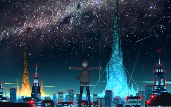 Anime City Night Stars HD Wallpaper | Background Image