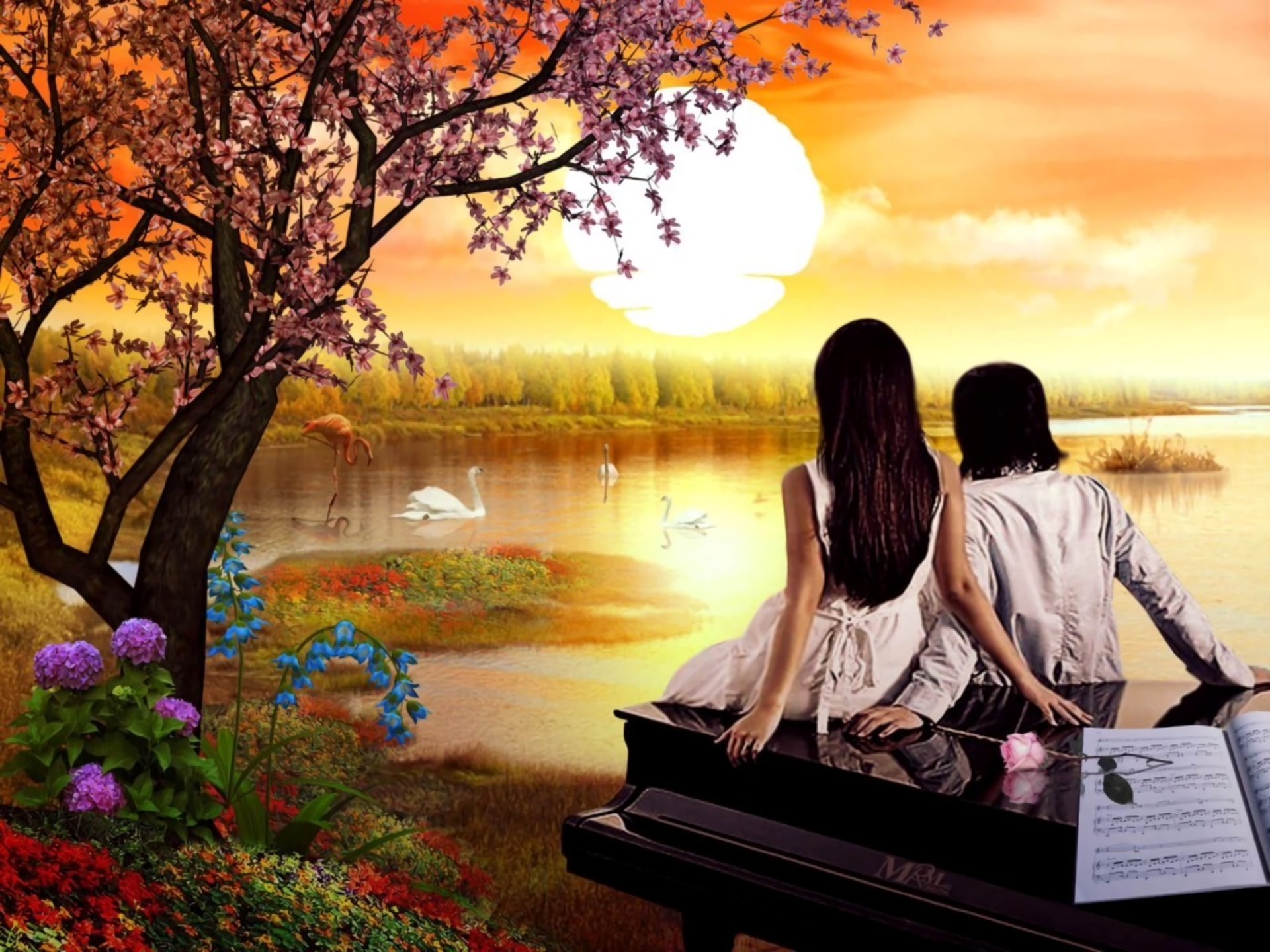 Artistic - Love  Pond Flower Sunset Artistic Wallpaper