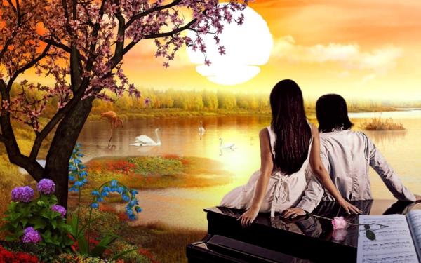Artistique Amour Pond Fleur Coucher de Soleil Fond d'écran HD | Image