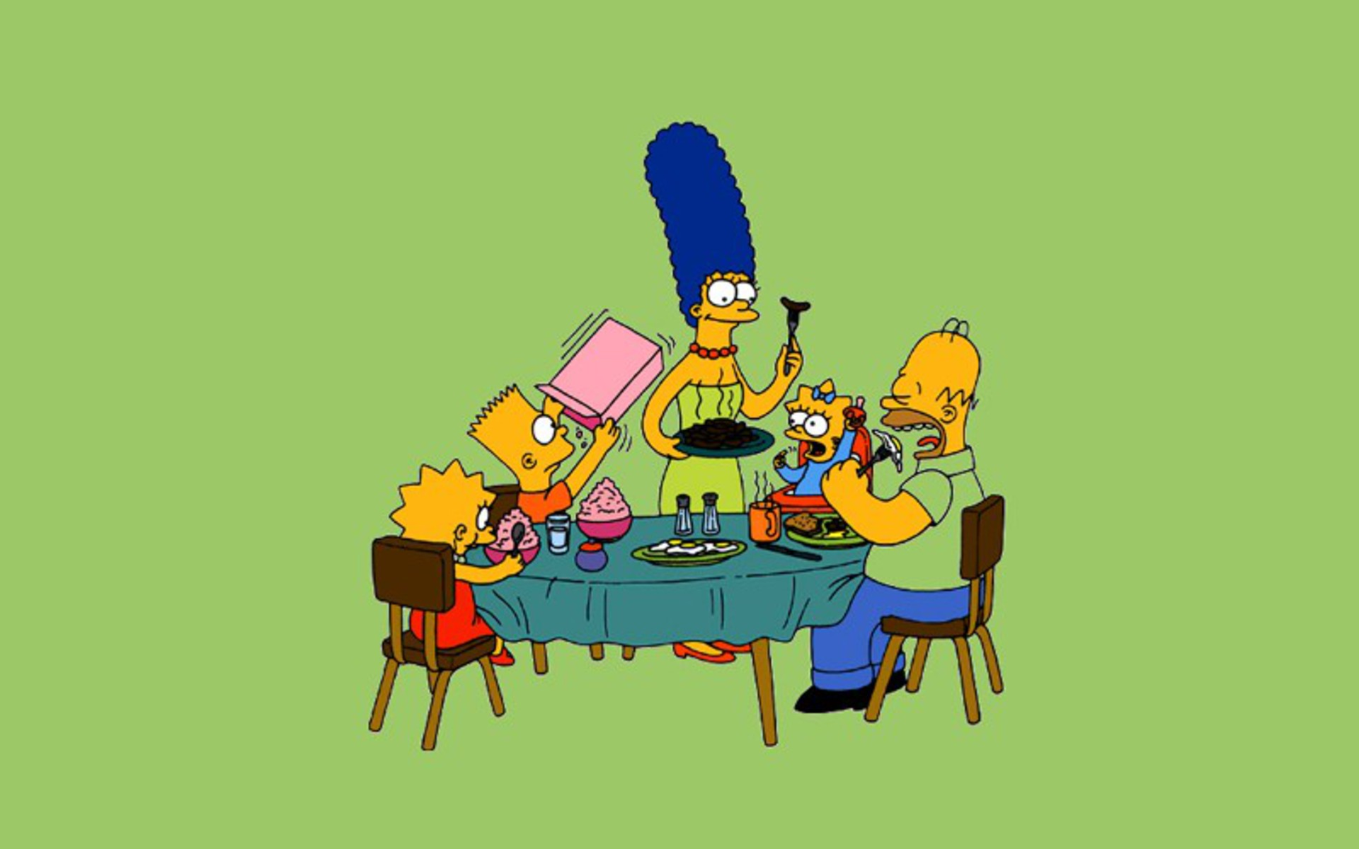 TV Show - The Simpsons  Lisa Simpson Bart Simpson Marge Simpson Homer Simpson Maggie Simpson Wallpaper