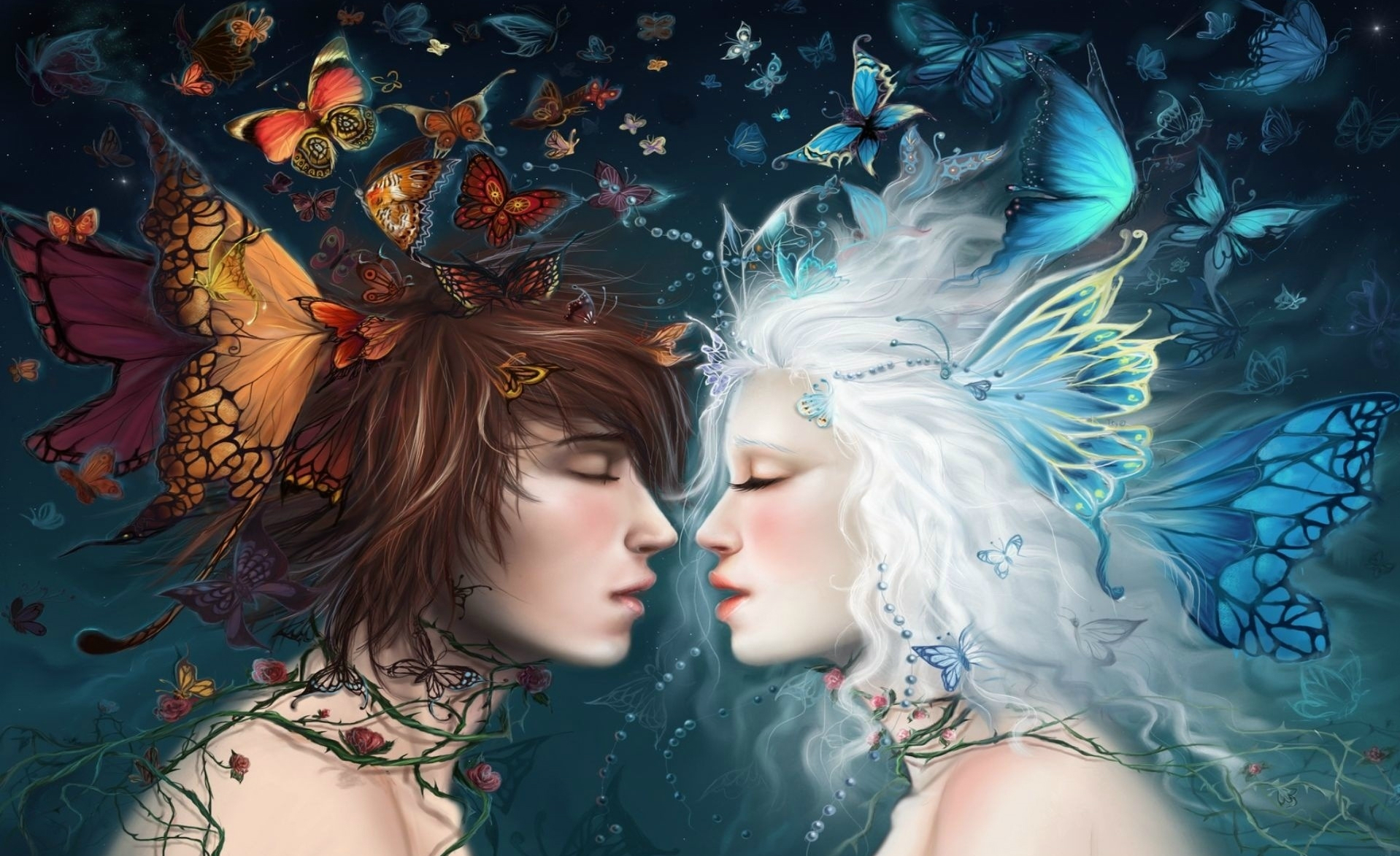 Fantasy - Love  Butterfly Wallpaper