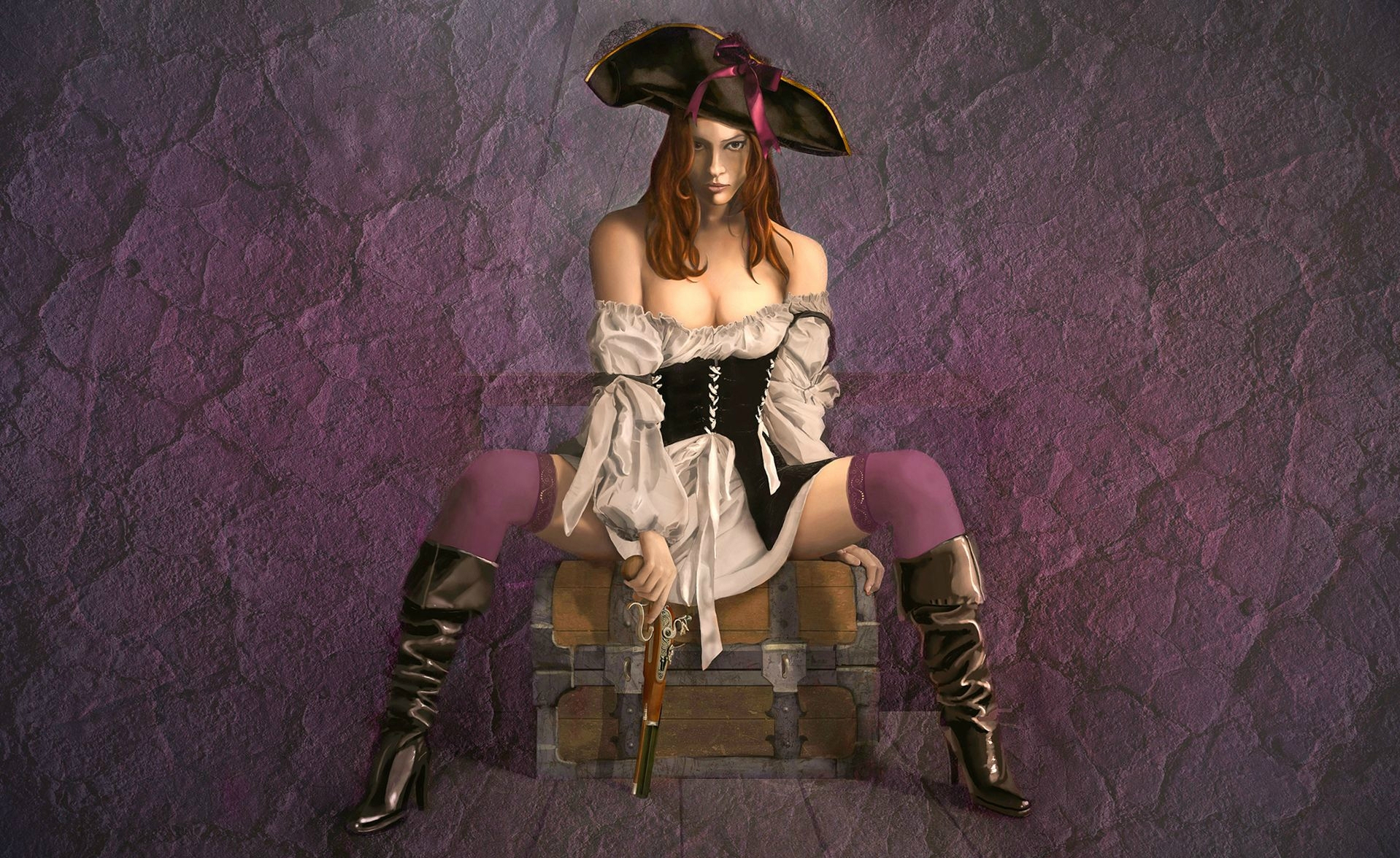 Fantasy - Pirate  Beautiful Gun Hat Flint Lock Treasure Leather Boots Wallpaper
