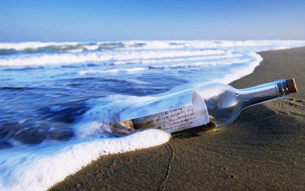 Man Made Bottle Message Beach HD Wallpaper | Background Image