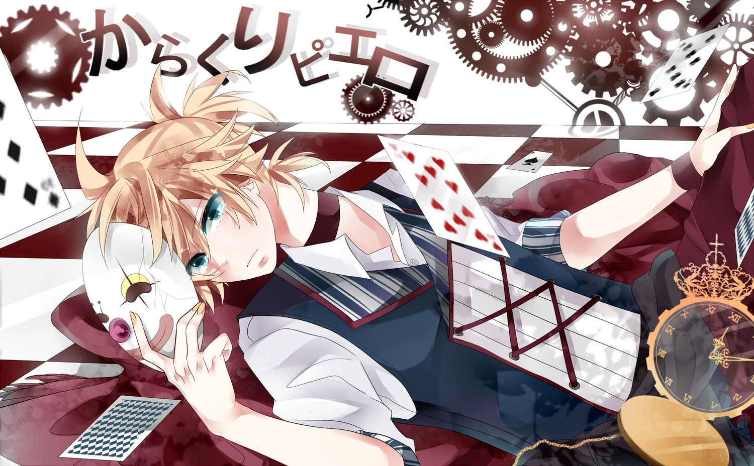 Anime - Vocaloid  - Kagamine Len - Song Illustration - Karakuri Pierrot Papel de Parede
