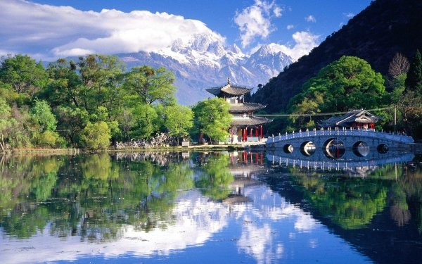Photography Lake Lakes Mountain Bridge Japan Landscape HD Wallpaper | Background Image