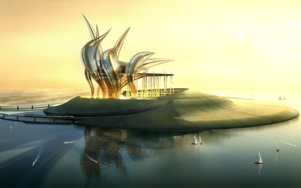 Artistic Building Buildings Sunset Island Desert HD Wallpaper | Background Image