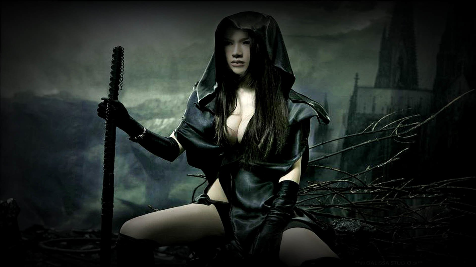 Fantasy - Women Warrior  Cleacage Beautiful Sword Warrior Gothic Dark Wallpaper