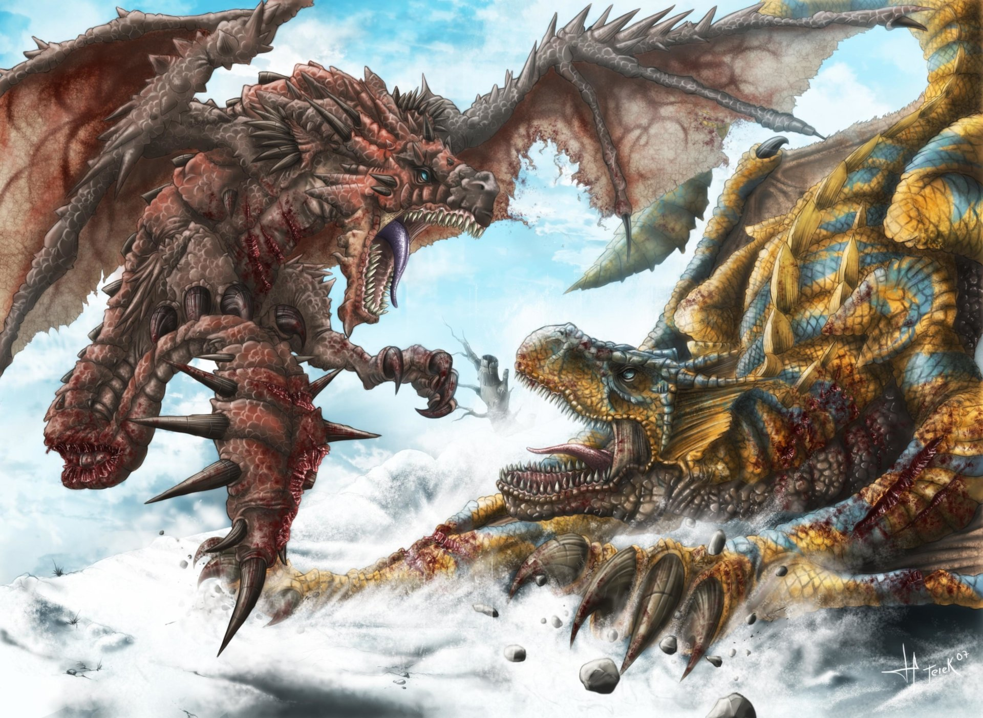 Video Game - Monster Hunter Freedom Unite  Dragon Rathalos (Monster Hunter) Tigrex (Monster Hunter) Wallpaper