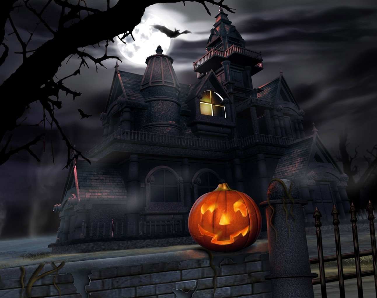 Holiday - Halloween  Pumpkin Castle Bat Wallpaper