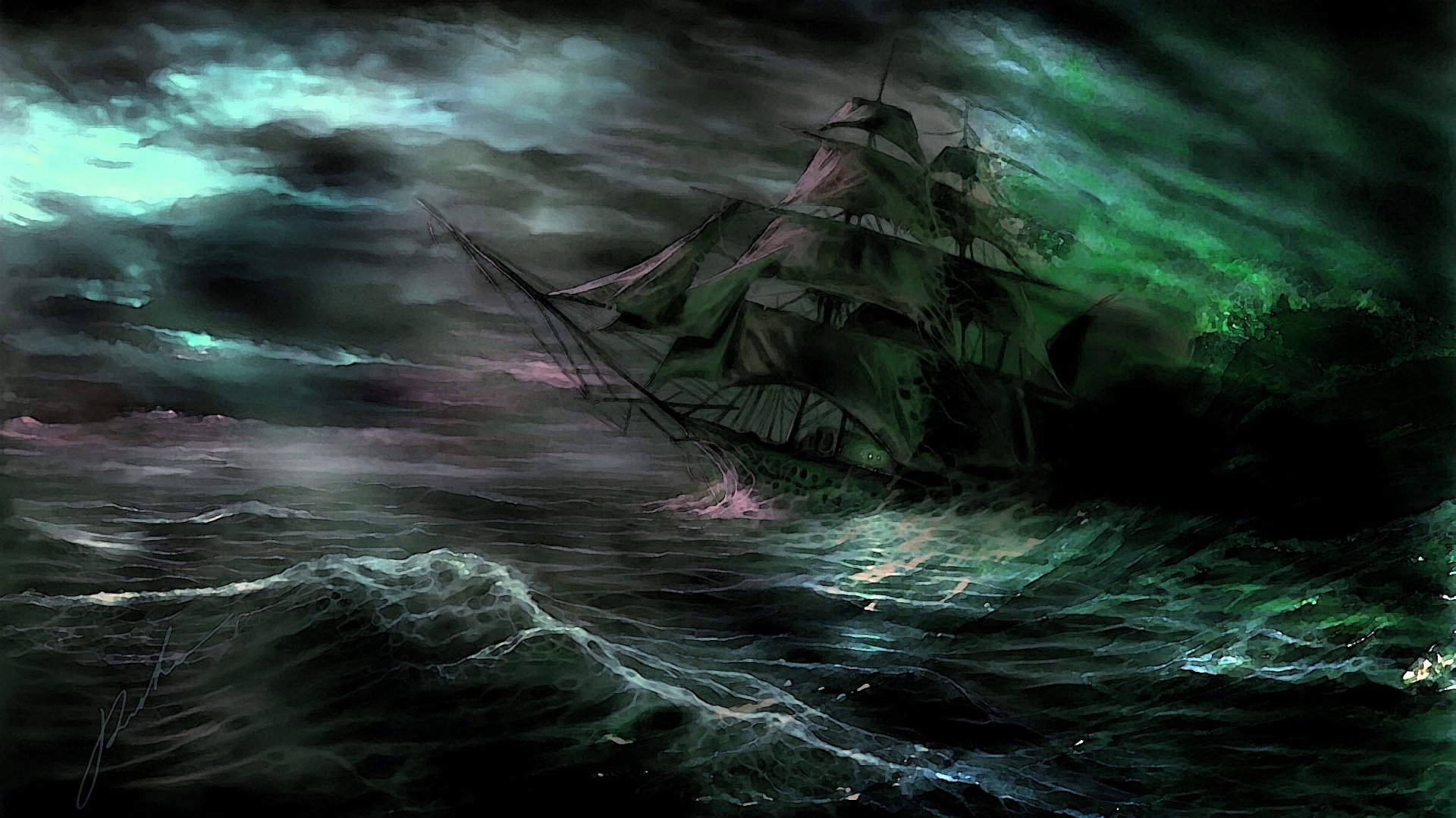 Fantasy - Dark  Ship Ocean Wallpaper