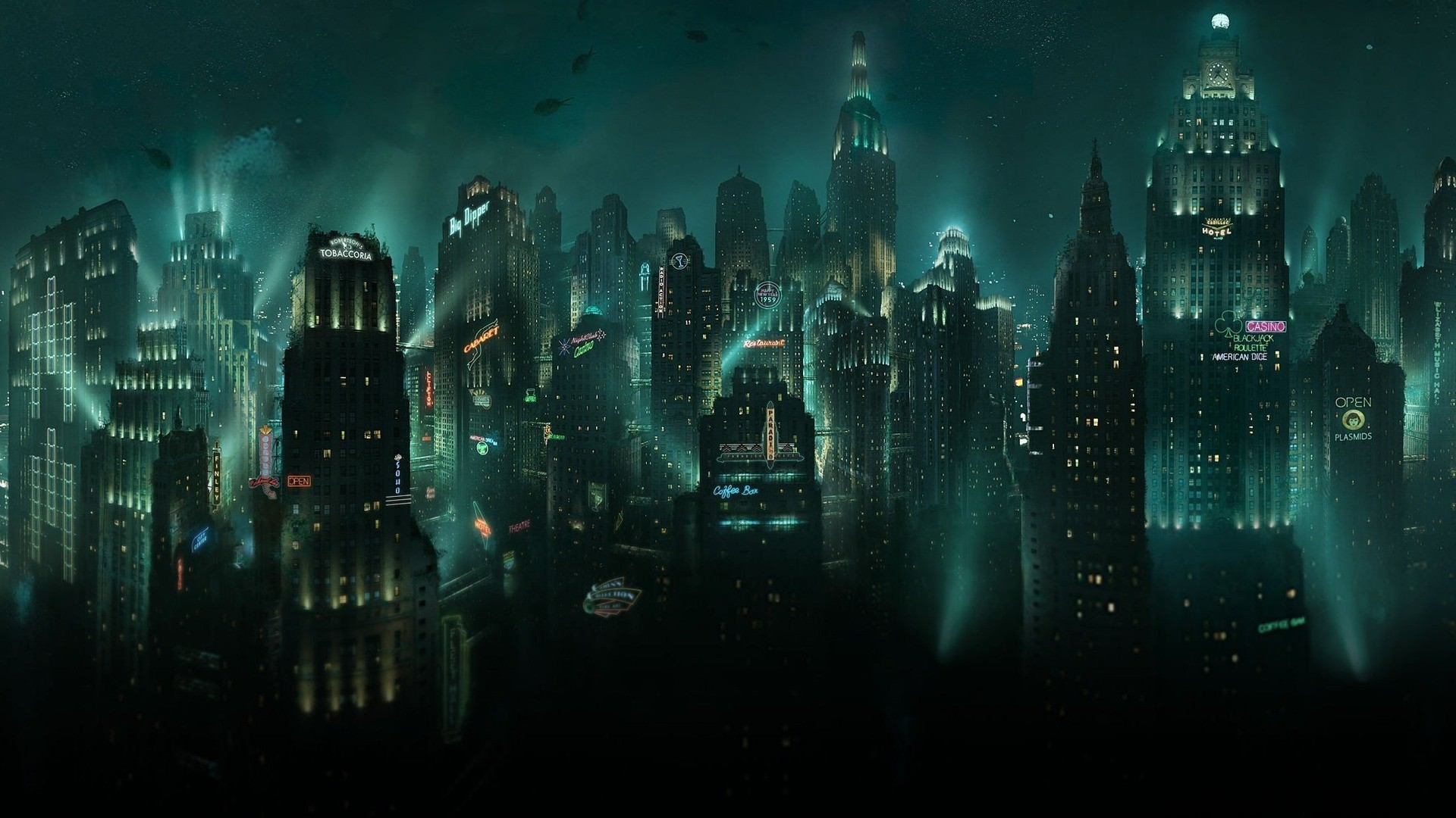 Sci Fi - City  - Bioshock - Night Wallpaper