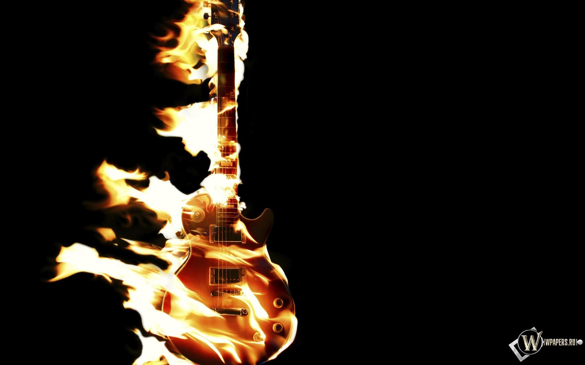 Abstract Guitar Wallpaper Hd: Burning Guitar HD Wallpaper
