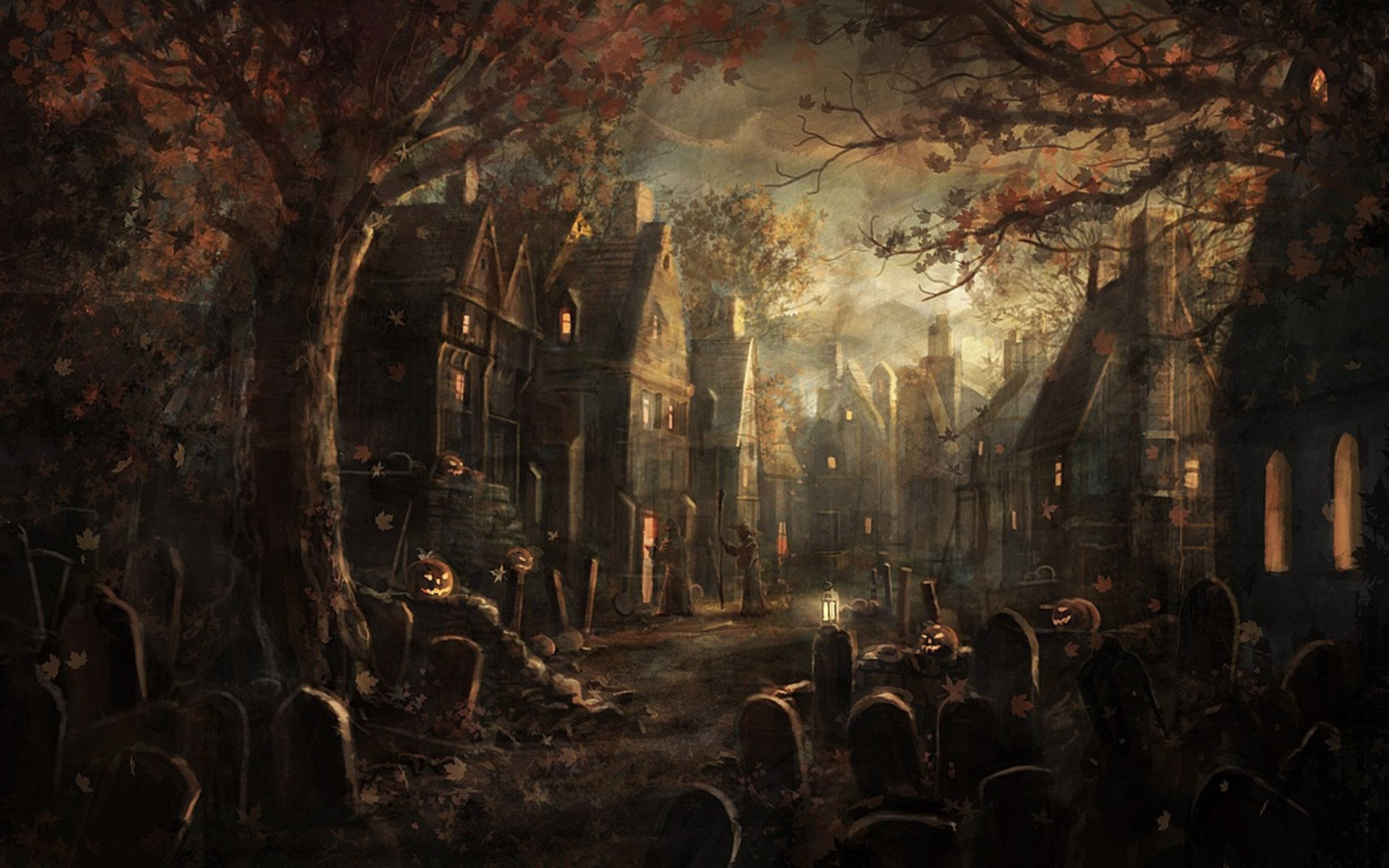Artistic - Halloween  Fall Fantasy House Village Wallpaper