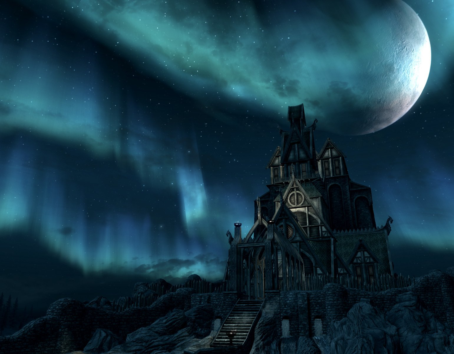 Video Game - The Elder Scrolls V: Skyrim  The Elder Scrolls Skyrim Video Game Moon Building Wallpaper