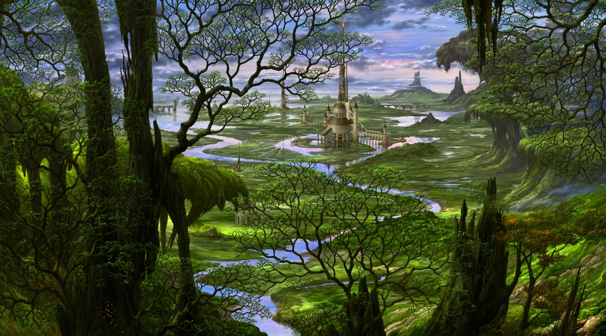 Castle full hd wallpaper and background image 2000x1111 - Fantasy scenery wallpaper ...