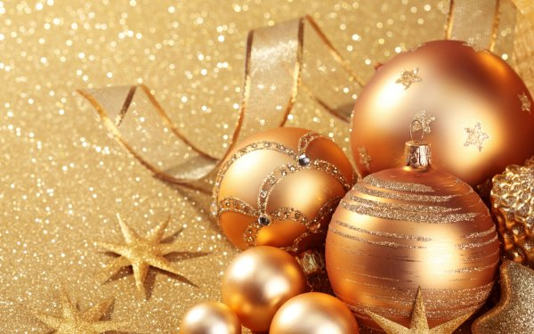 Holiday Christmas Christmas Ornaments Golden HD Wallpaper | Background Image