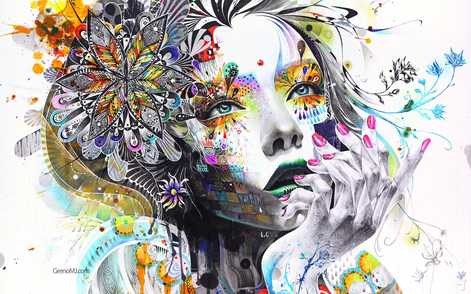 Artístico - Mujeres  Minjae Lee Artístico Colorful Flor Cara Portrait Woman Colores Surrealism Fondo de Pantalla