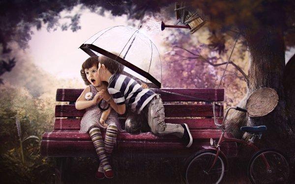 Artistic Love Boy Bike Girl Umbrella Kiss HD Wallpaper | Background Image
