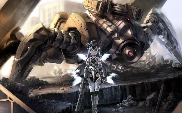 Anime Mech Robot Weapon Gun Headdress Blue Eyes Grey Hair Long Hair Thigh Highs Bullet Original HD Wallpaper | Background Image