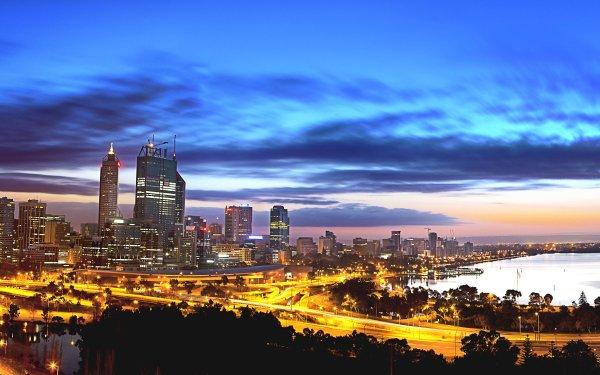 Man Made Perth Cities Australia Night Light Water HD Wallpaper   Background Image