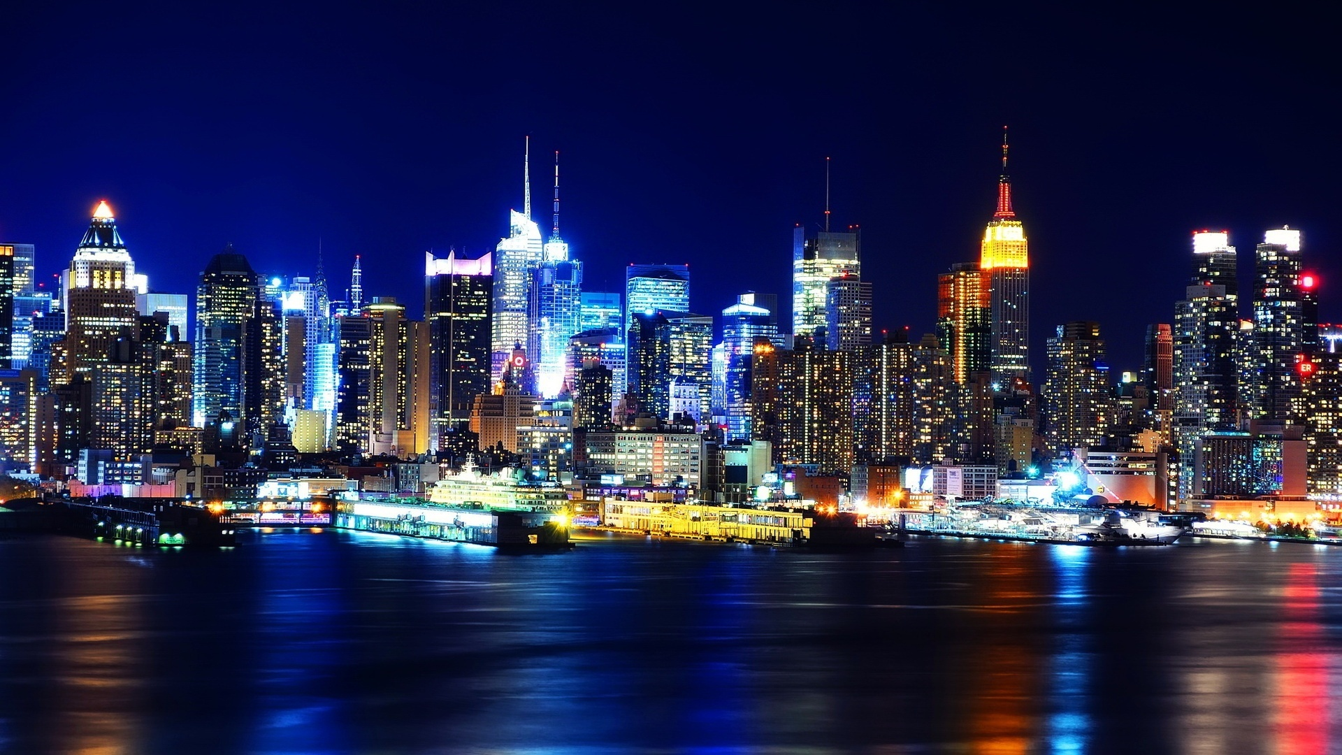 Man Made - City  - New York - Night - Lights - Photography Wallpaper