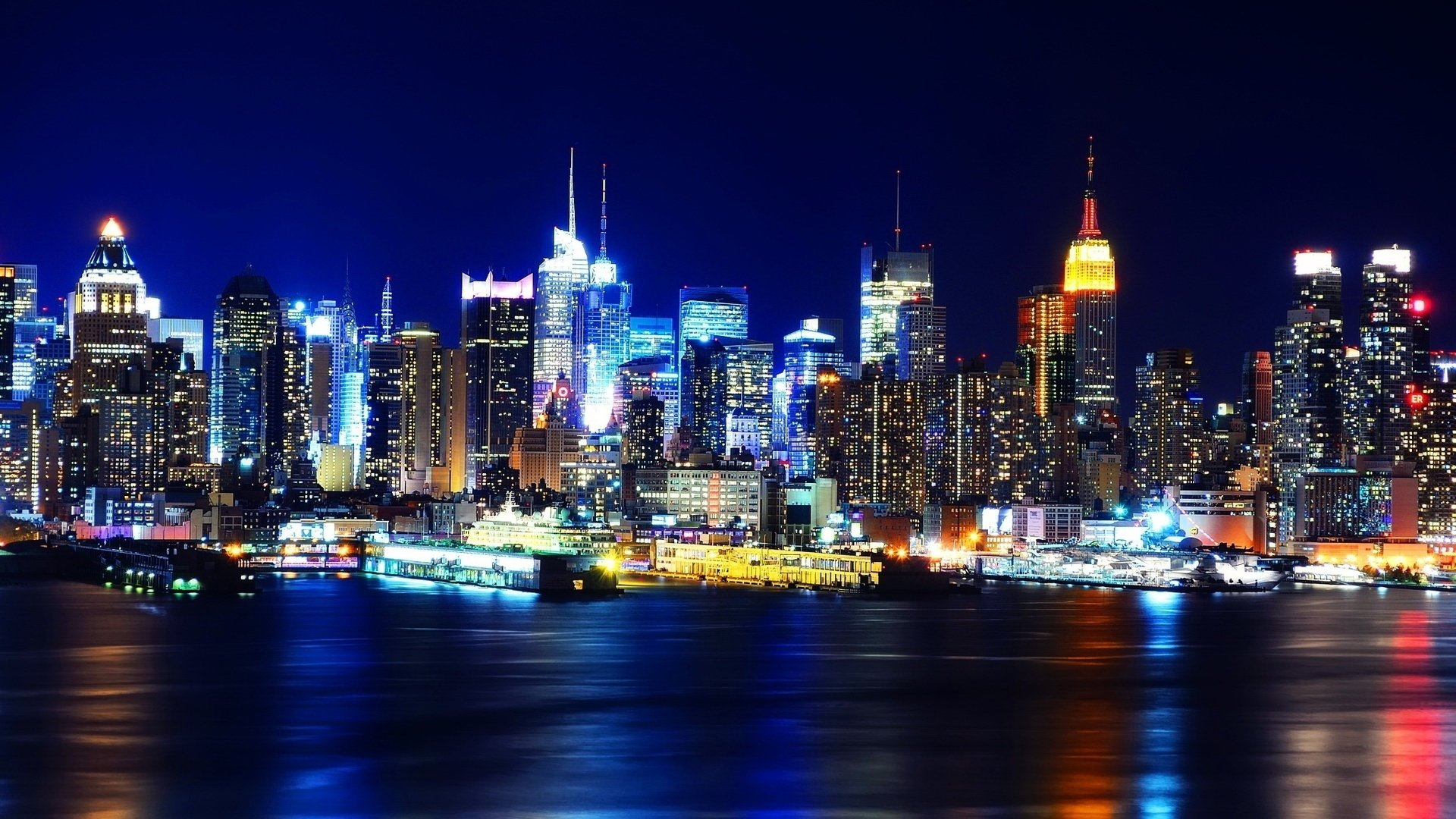 Man Made - City  New York Night Light Photography Wallpaper