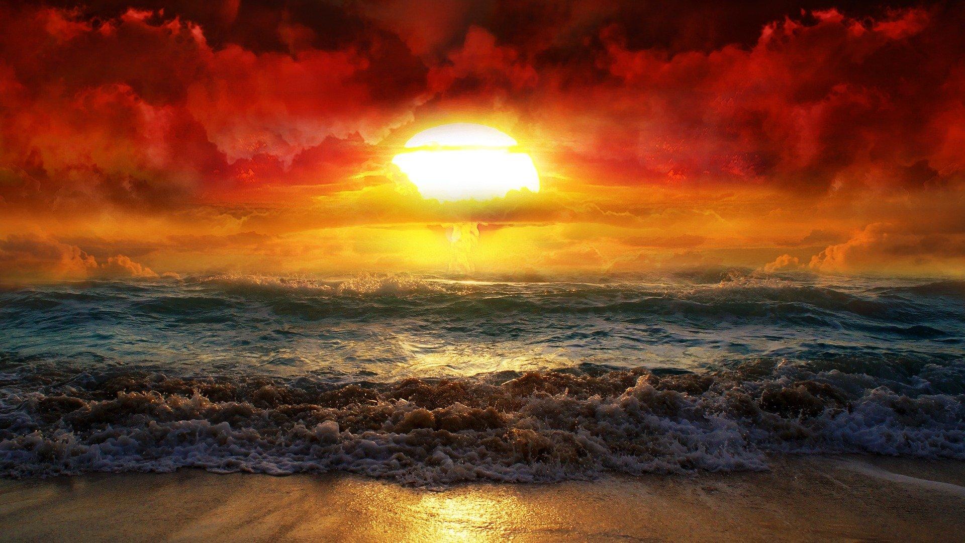 Photography - Manipulation  Sunset Ocean Wave Sun Beach Wallpaper