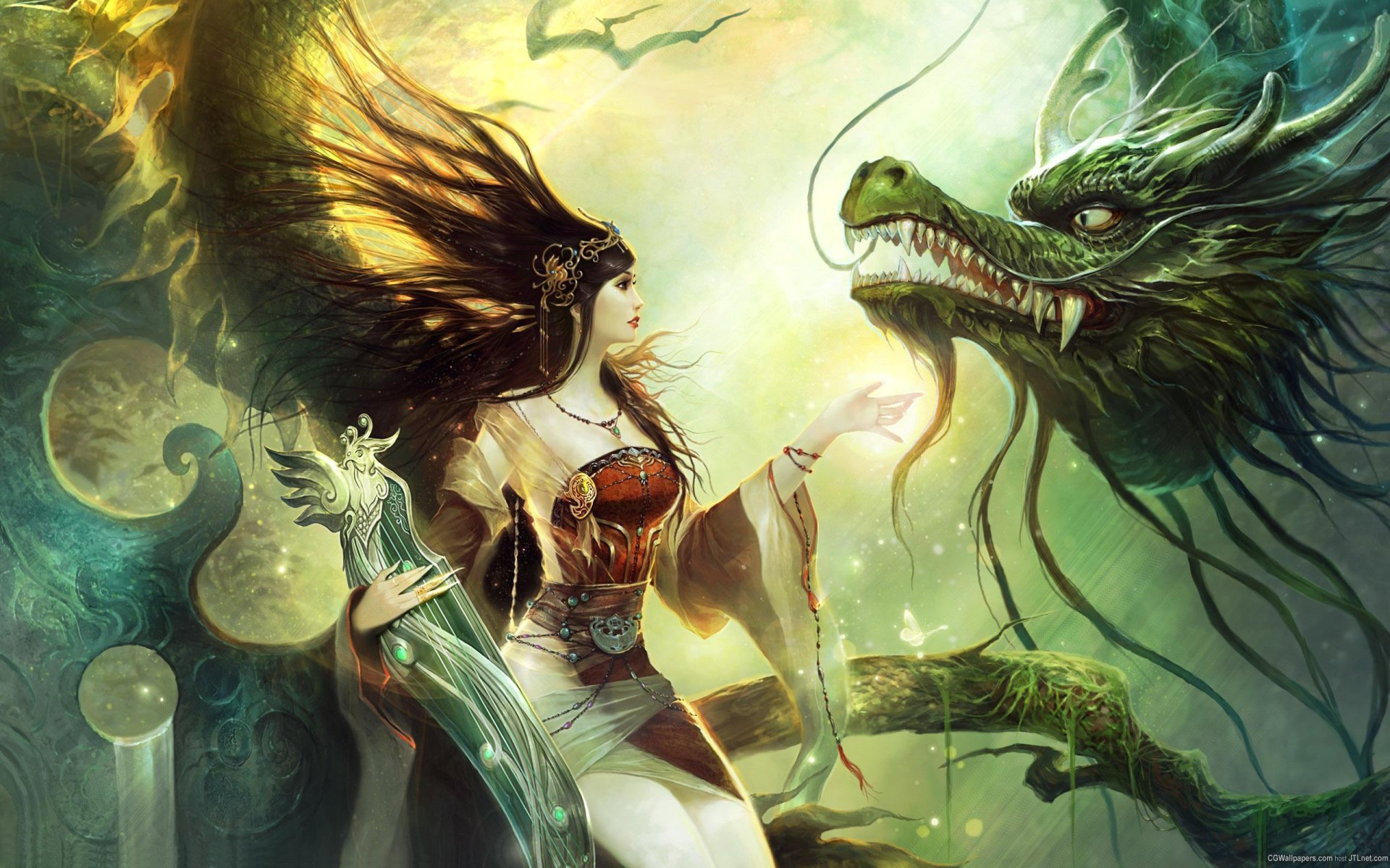 Fantasy - Women  Dark Gothic Dragon Witch Wallpaper
