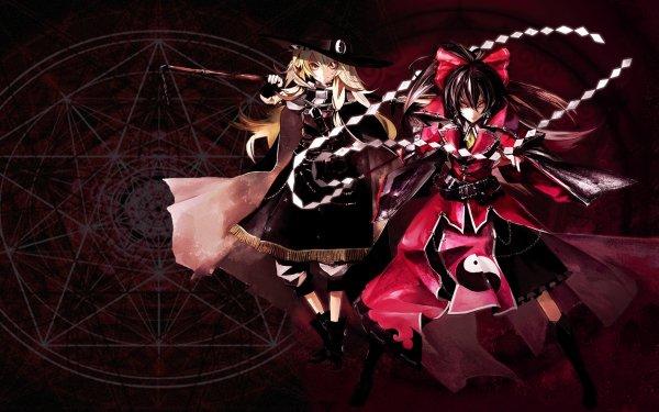 Anime Touhou Reimu Hakurei Marisa Kirisame HD Wallpaper | Background Image