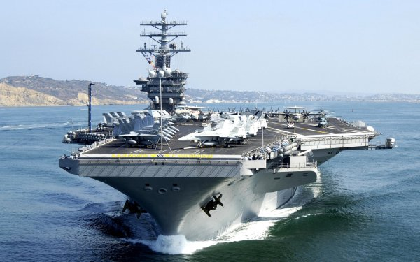 Military USS Nimitz (CVN-68) Warships United States Navy Aircraft Carrier Warship HD Wallpaper | Background Image