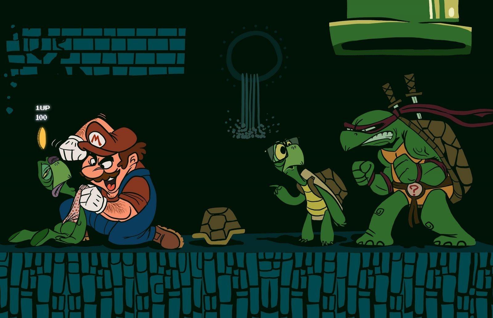 Video Game - Crossover  Mario Super Mario Bros. Teenage Mutant Ninja Turtles Raphael (TMNT) Wallpaper