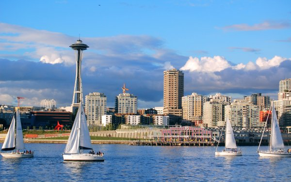 Man Made Seattle Cities United States Space Needle HD Wallpaper | Background Image