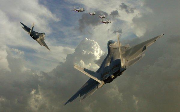 Military Artistic Lockheed Martin F-22 Raptor Eurofighter Typhoon Ace Combat HD Wallpaper | Background Image