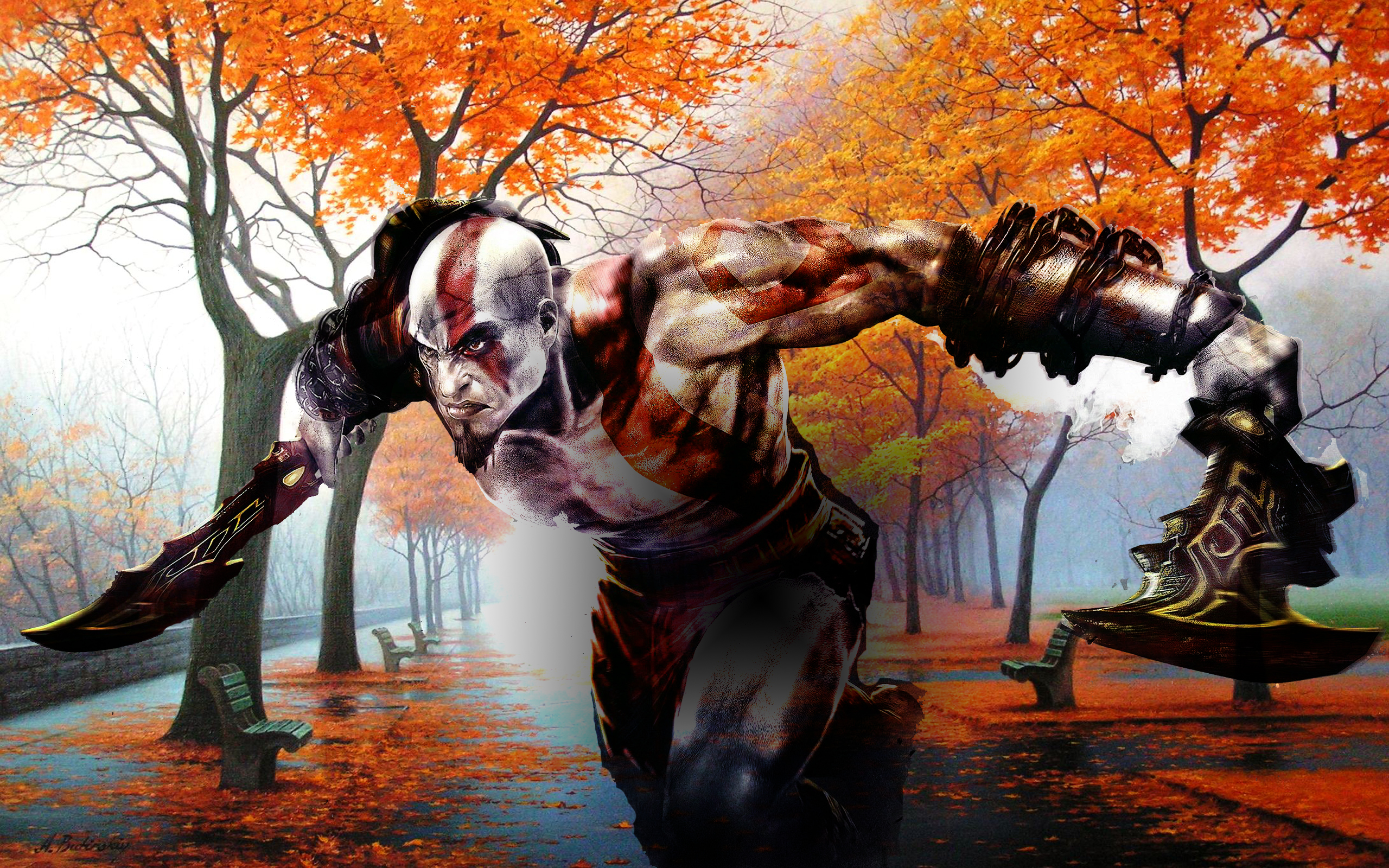 God Of War Forest Run Hd Wallpaper Background Image 2560x1600