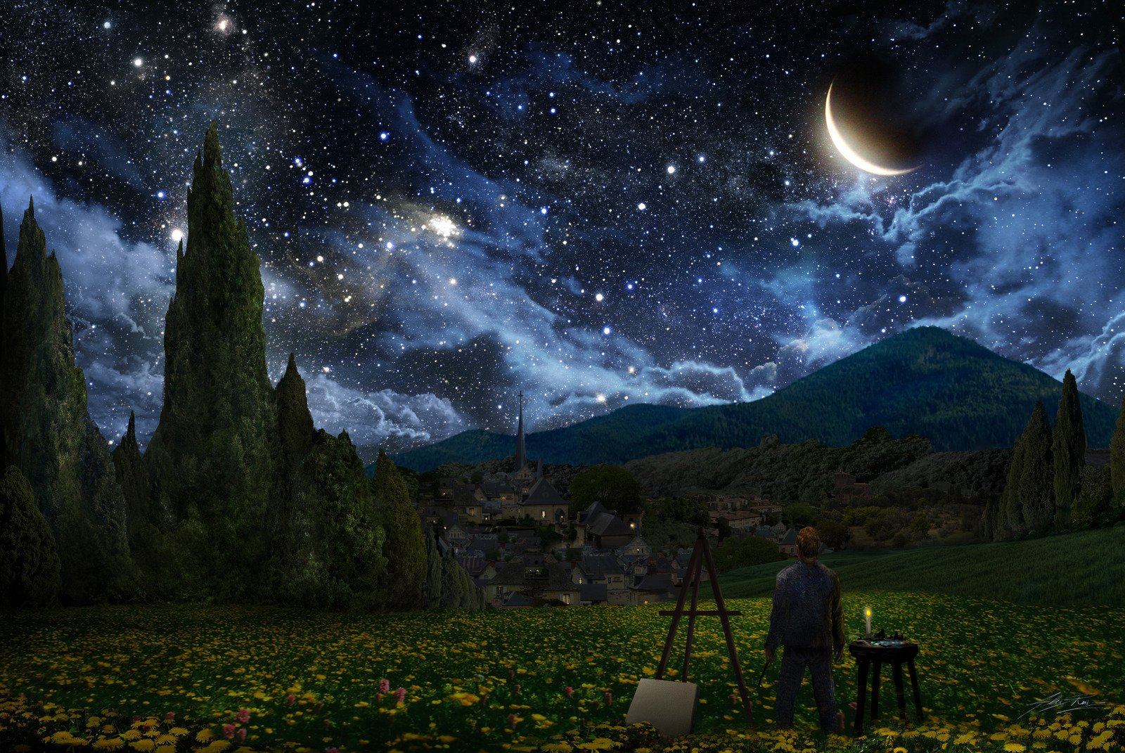 Starry Night Painting By Alex Ruiz Wallpaper And Background Image