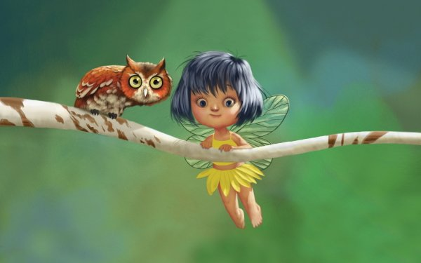 Fantasy Fairy Owl HD Wallpaper | Background Image