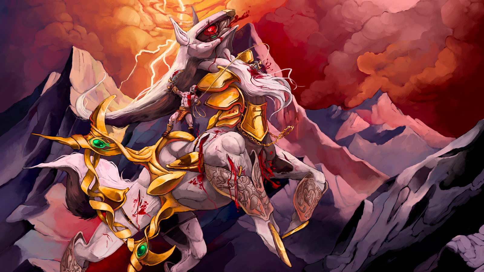 Video Game - Crossover  Arceus (Pokémon) Kratos (God Of War) God of War Pokémon Wallpaper