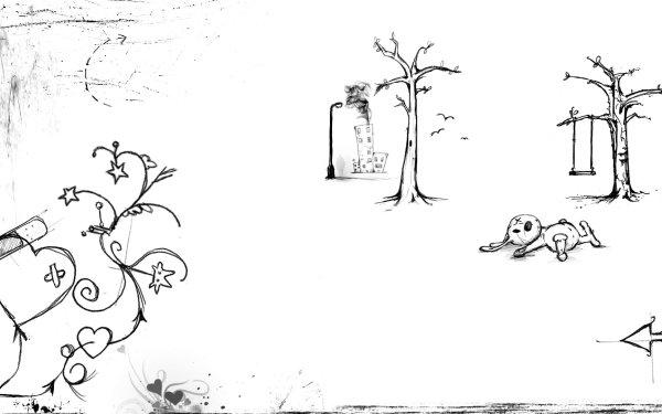 Dark Artistic Sketch Pen Emo Heart Tree HD Wallpaper | Background Image
