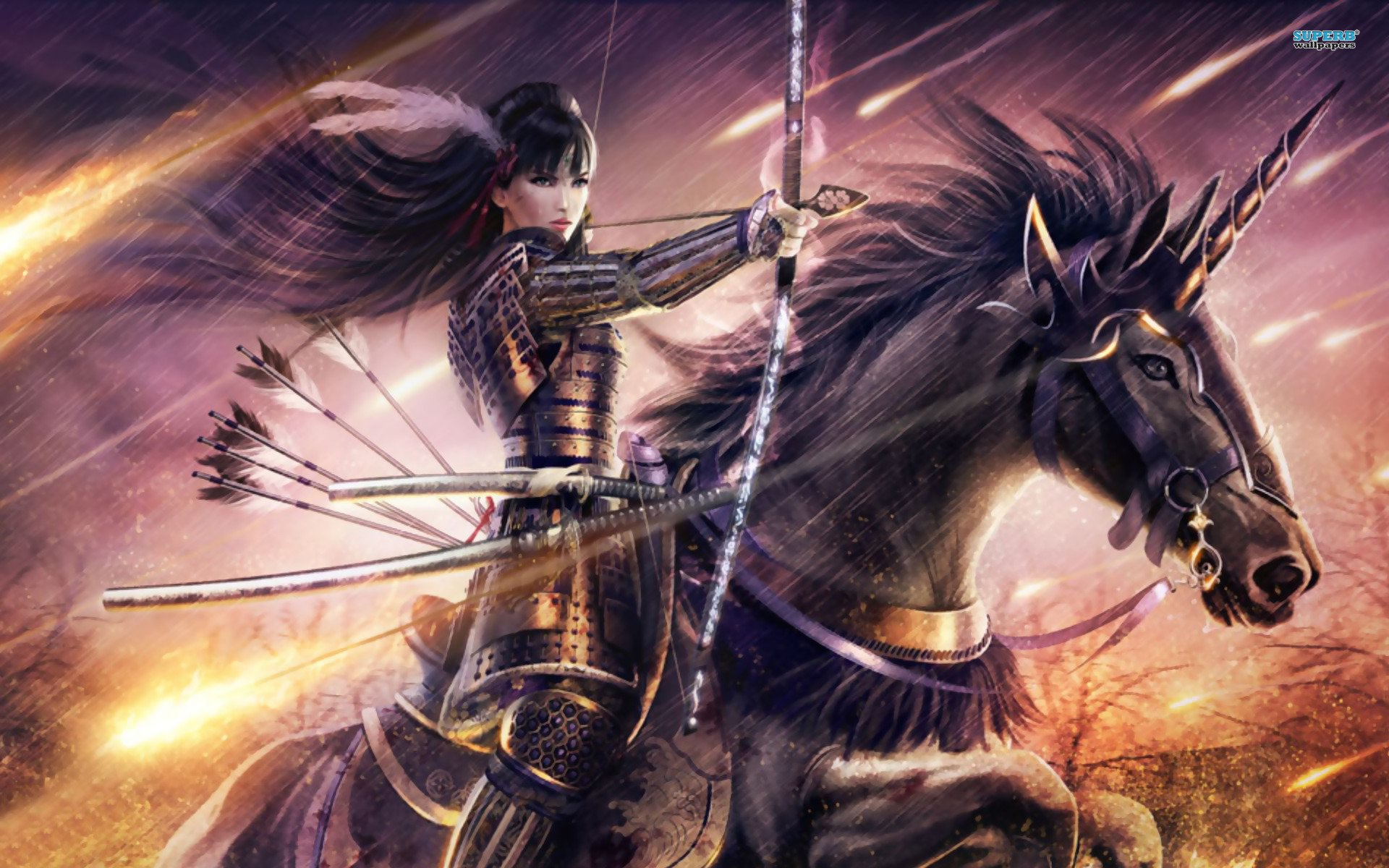 Fantasy - Archer  Woman Warrior Samurai Horse Bow Wallpaper